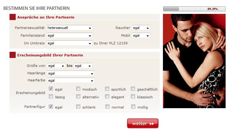 Abfrage von Partnerdaten bei der Lovepoint Registrierung.