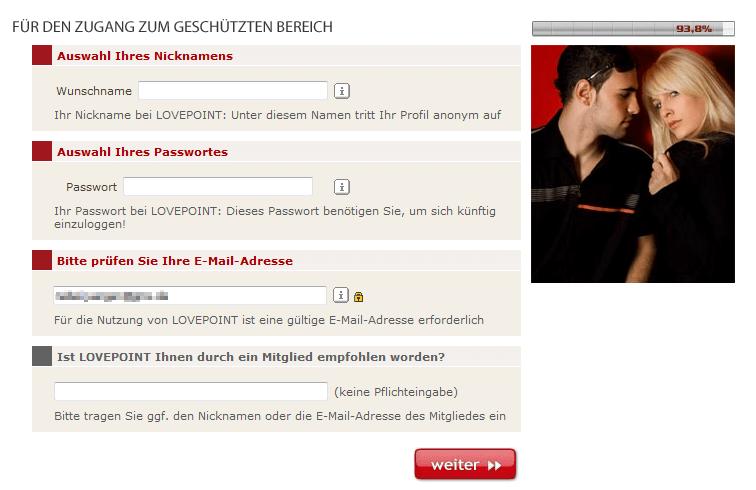 Nutzernahmenwahl in der Lovepoint Registrierung
