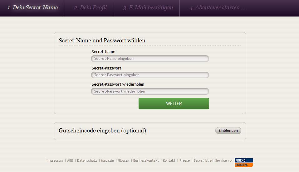 Nutzername und Passwort bei der Secret Registrierung.